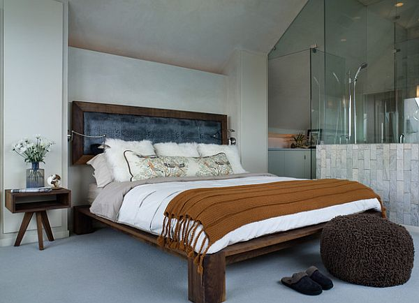 rustic bed platform and detached headboard 10 Rustic and Modern Wooden Bed Frames for a Stylish Bedroom