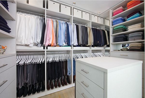 White organized master closet design decoist - Master walk in closet design ...