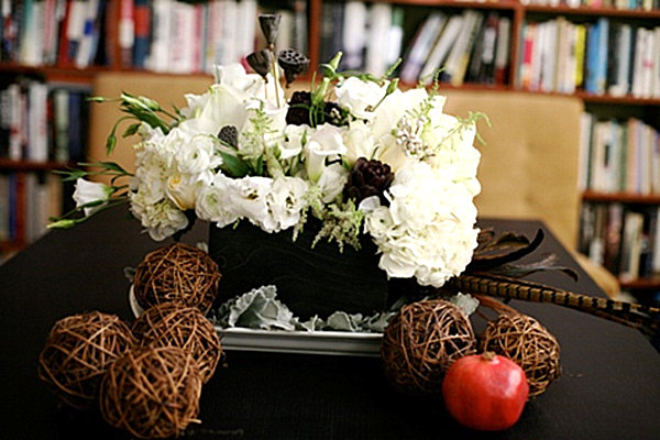 A blossom and branch Thanksgiving centerpiece