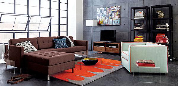 A chocolate brown sectional sofa