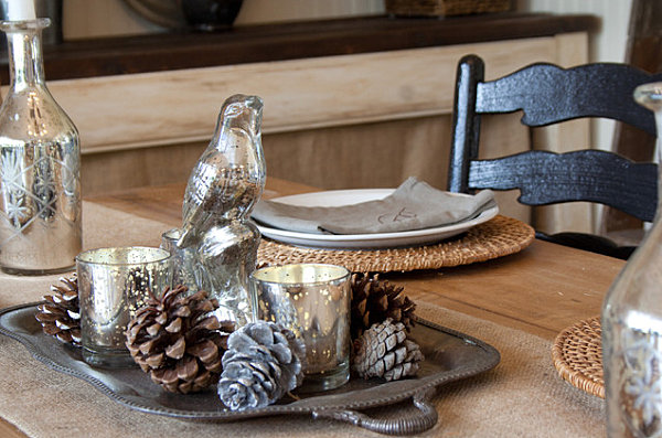 A pine cone and mercury glass Thanksgiving centerpiece