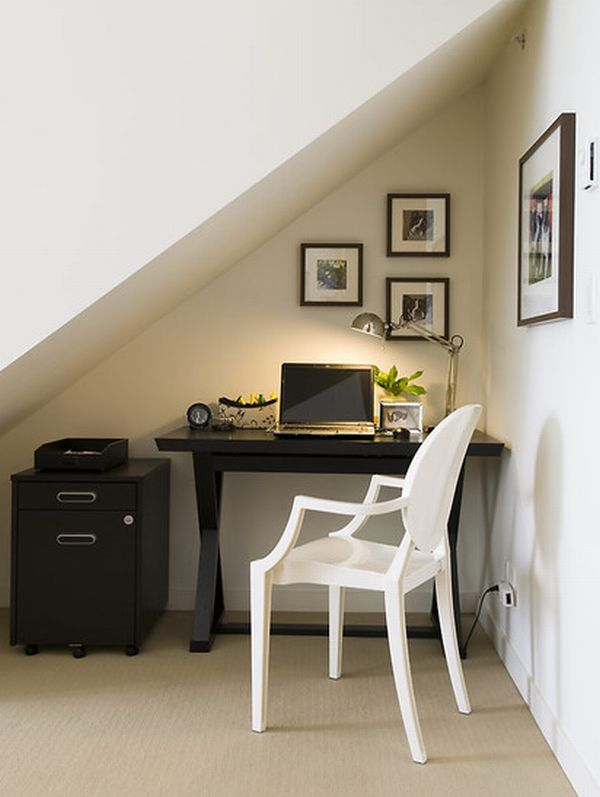 awkward nook transformed into stylish work space