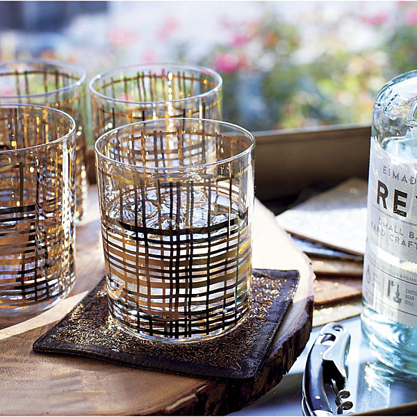 Bar glasses with silver and gold accents