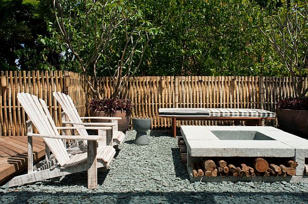 Beautiful textured bamboo fence for the garden