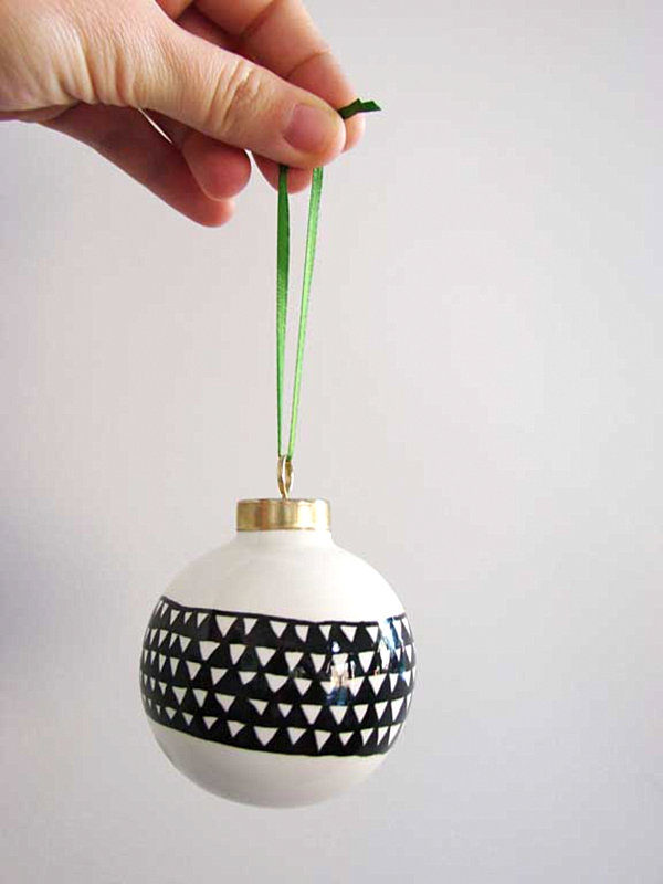 Black and white porcelain DIY ornament 12 DIY Christmas Ornaments for a Festive Tree