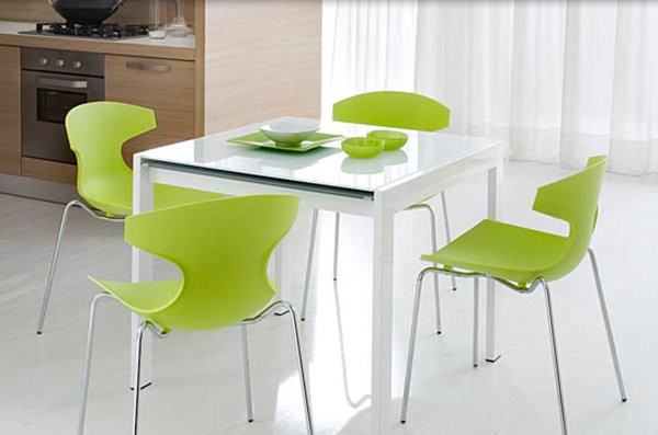 View In Gallery Bright Green Kitchen Chairs Around A White Table