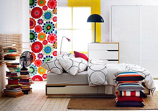 Colorful Scandinavian bedroom