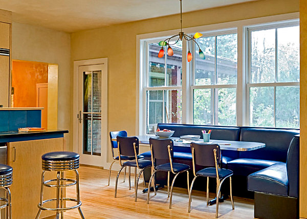 Diner chairs in royal blue
