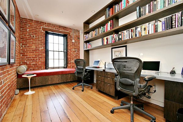 Exposed brick wall for the office