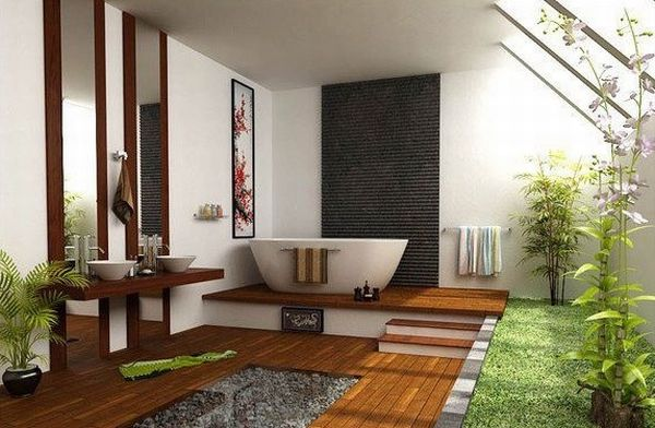 Exquisite Japanese bathroom with loads of space and green 18 Stylish Japanese Bathroom Design Ideas