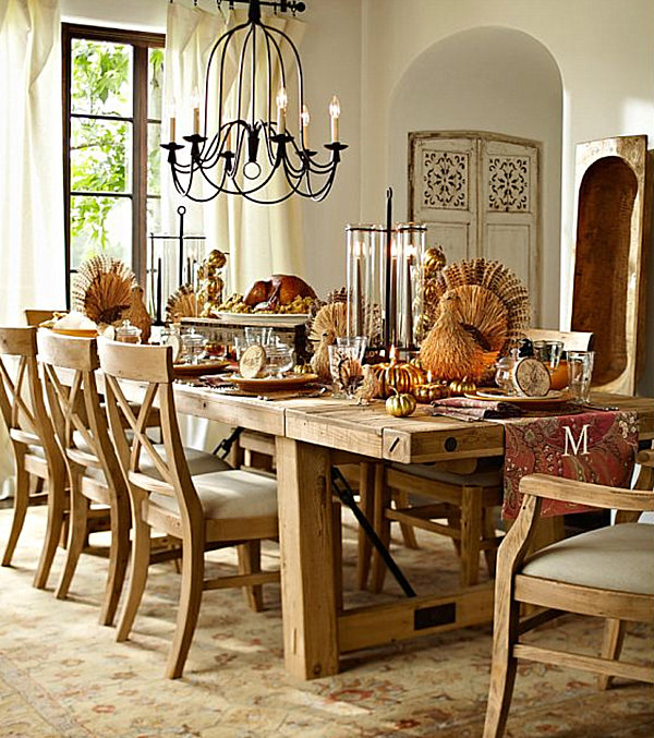 Faux turkey centerpieces for Thanksgiving