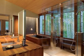 Feng Shui bathroom with lavish wooden presence