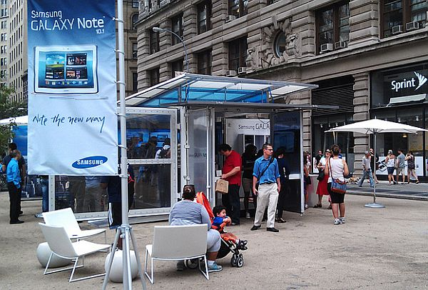 Galaxy Note presentation booth made from shipping containers