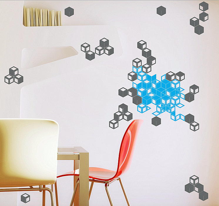 Geometric cube wall art decals