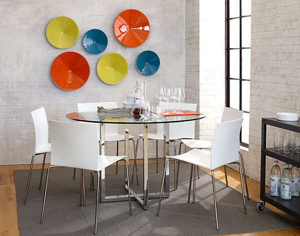 Glass-and-chrome-plated-dining-table