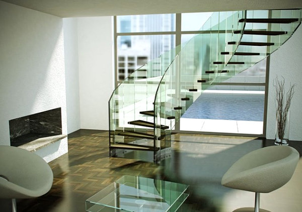Glass and wooden staircase