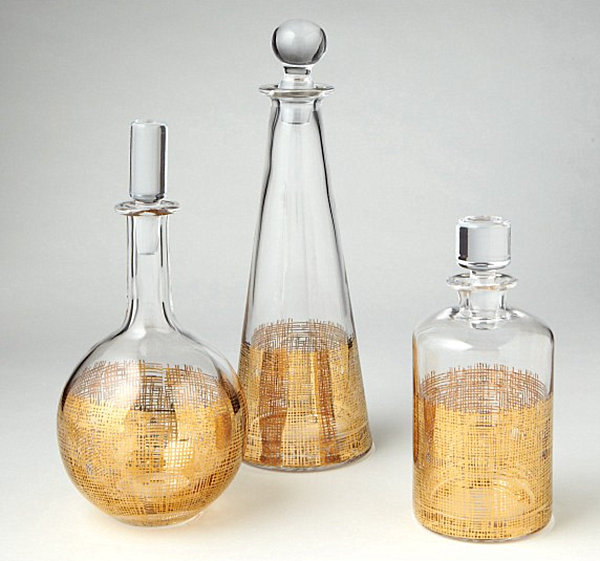 Glass decanters with crosshatch detailing