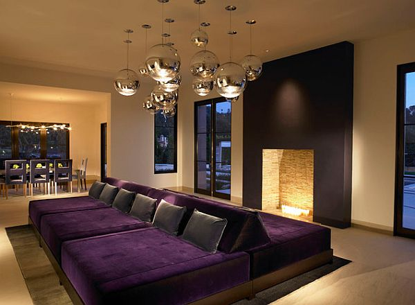 View In Gallery Gorgeous Purple Cushions Go Great With A Vivacious Home  Theater Setting