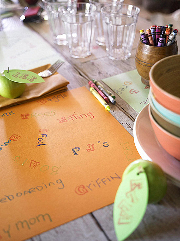 Kids' table Thanksgiving place setting