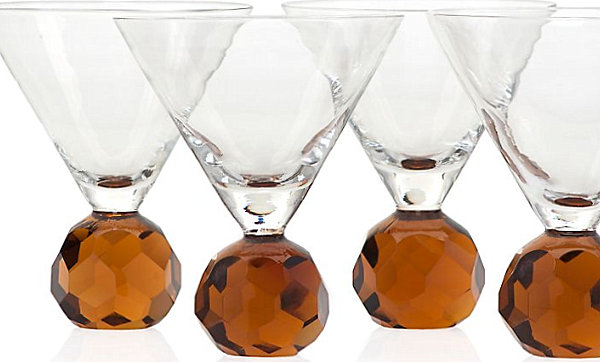 Martini glasses with amber stems