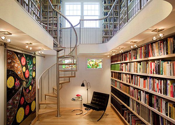 Metal-staircase-in-an-artistic-library