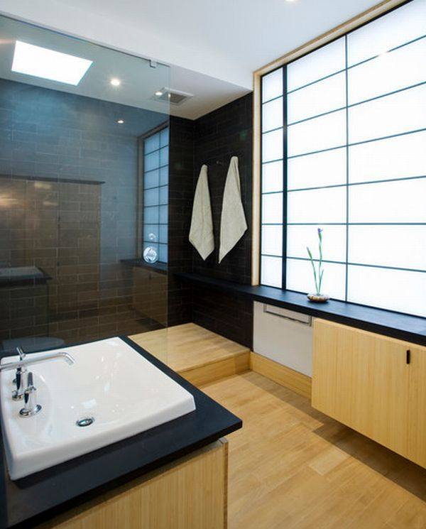 Modern Japanese Bathroom With Opaque Glass Window Decoist