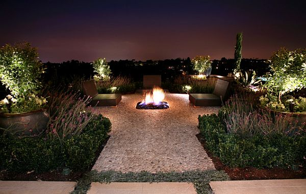 Modern patio decor with recessed lighting and fireplace