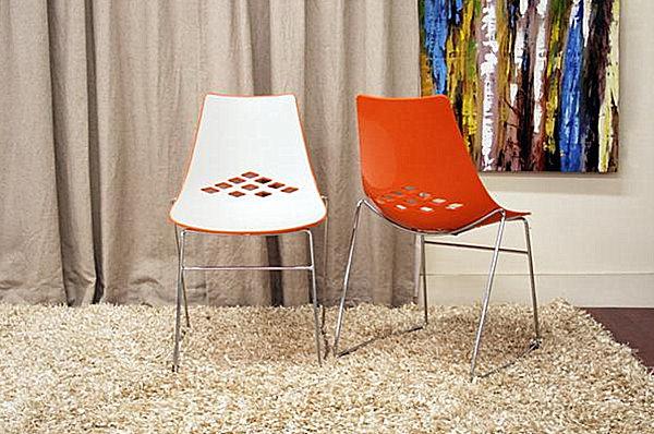 Modern White And Orange Plastic Dining Chairs Decoist