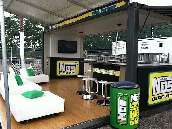 NOS energy drink shipping container presentation