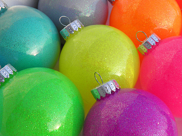 View in gallery. Neon Christmas ball ornaments