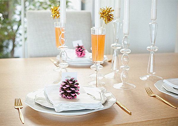 Neon-dipped pinecone placecard holders