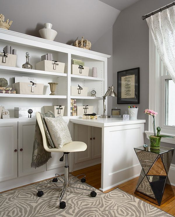 Organized home office space with plenty of storage options around decoist - Small home office space gallery ...