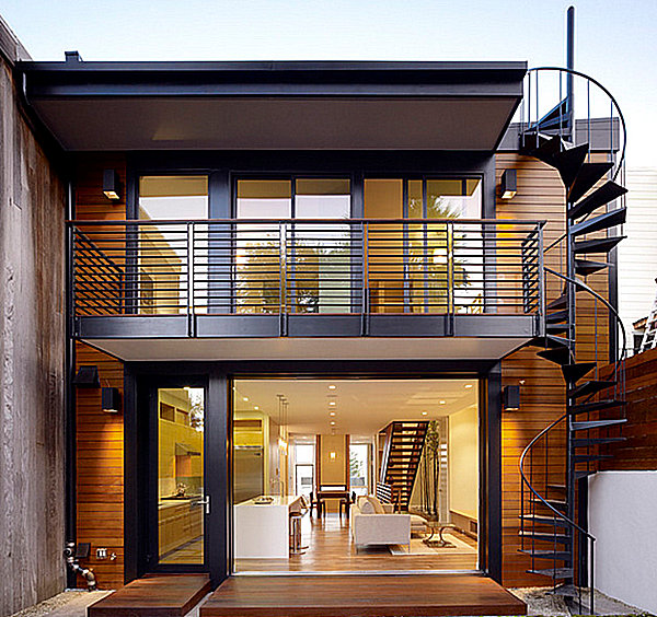 Make a statement with spiral stairs for Exterior balcony design