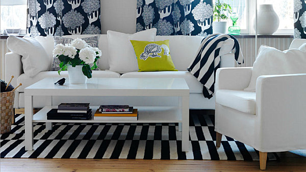 Patterned textiles in a modern living room