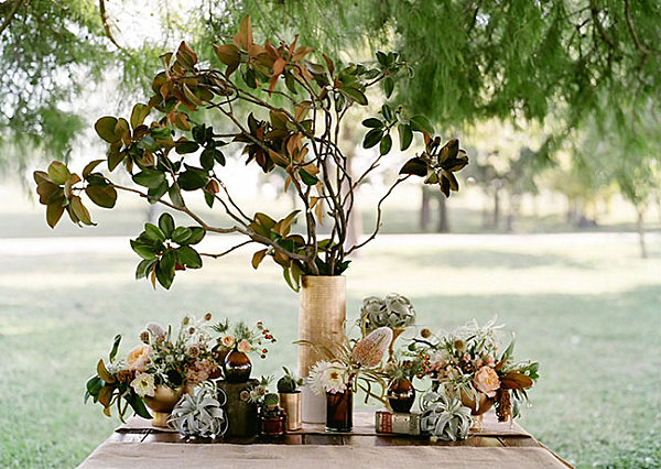Plant decorations on a Thanksgiving table