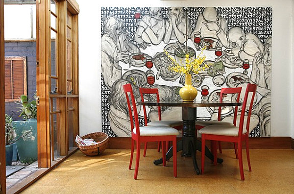 Red restaurant chairs