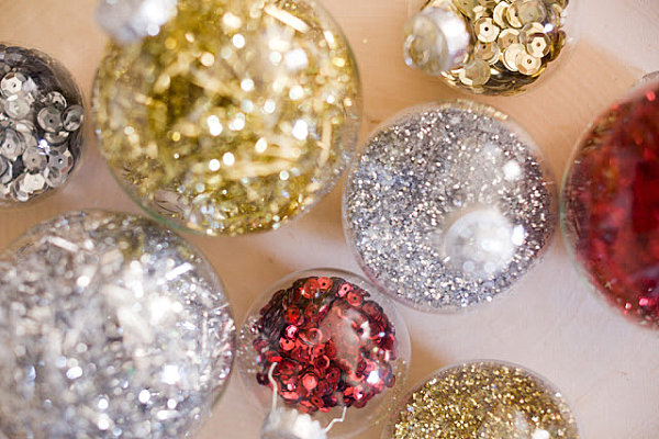 Sequin and glitter Christmas ornaments 12 DIY Christmas Ornaments for a Festive Tree