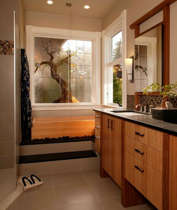 view in gallery stunning asian themed master bath with neutral shades and lovely bamboo cabinetry - Bamboo Bathroom Design