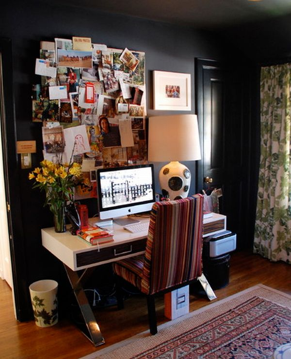 Tiny eclectic home office with loads of color