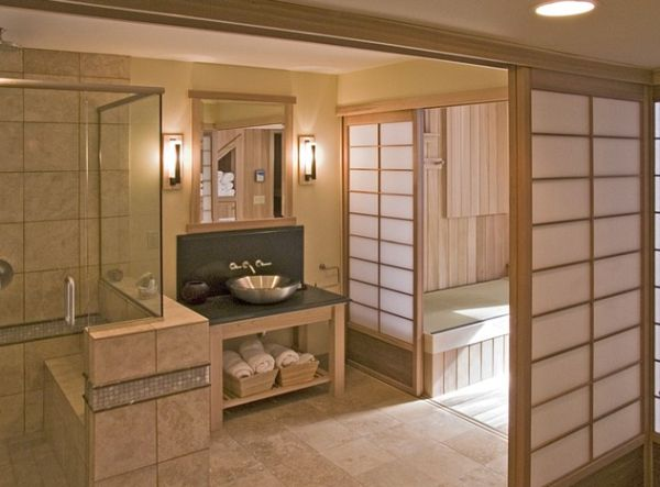 Tranquil Japanese bath with serene Shoji screens