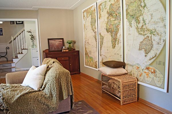 Wall framed old maps How to Use Old Maps in Home Decor