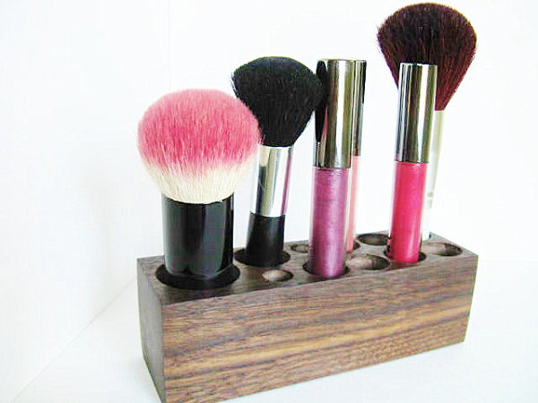 Walnut makeup organizer