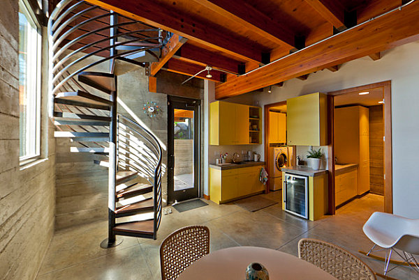 Wood and metal staircase in a contemporary home