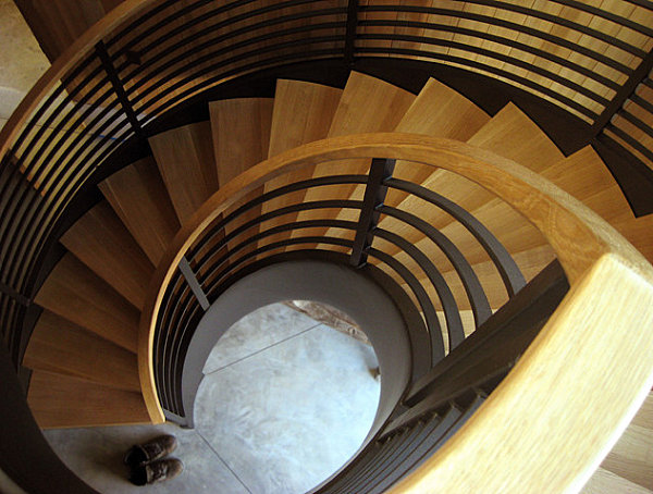 Wooden and metal spiral staircase