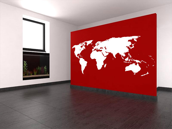 World map wall art decal