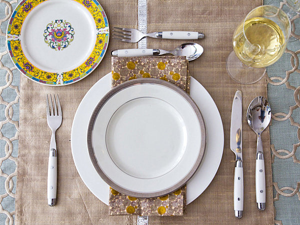 Yellow and blue Thanksgiving table setting