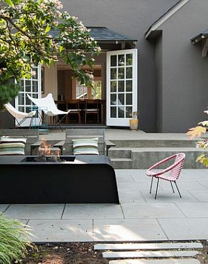 beautiful terrace design with outdoor fireplace