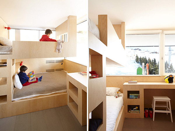 bunk beds and desk for a mountain cabin