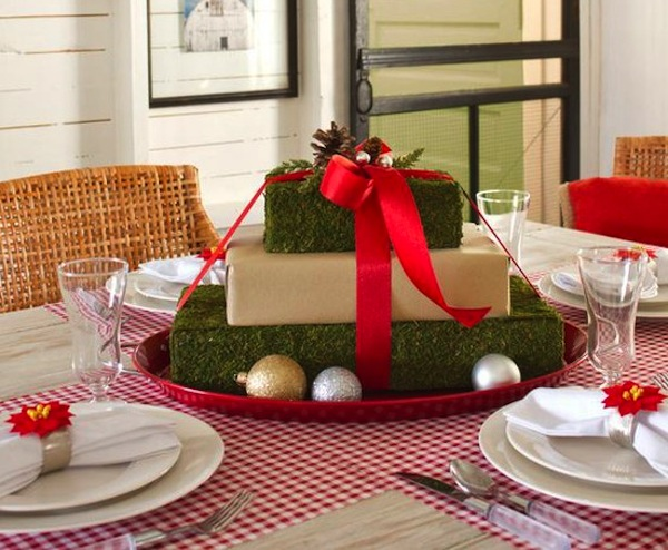 christmas gift tablescape idea