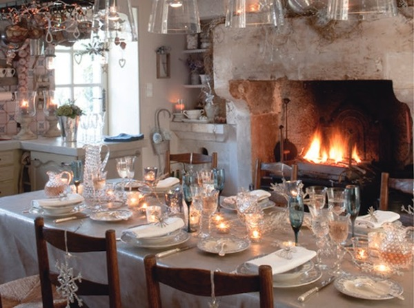 christmas light tablescape